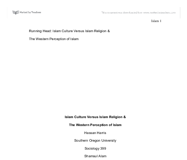 running head islam culture versus islam religion the western  document image preview