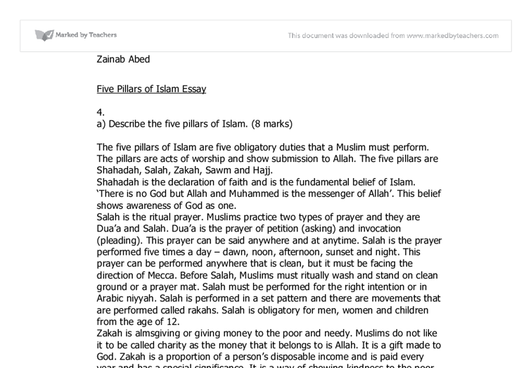 five pillars of islam essay gcse religious studies philosophy  document image preview