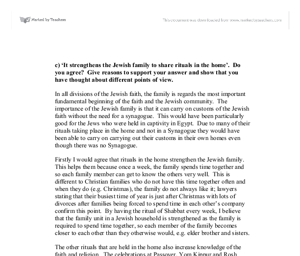 jewish rituals essay On one hand, orthodox families argue jewish intermarriage decimates the  continuity of the jewish  manner such as daily jewish rituals these  philosophical.