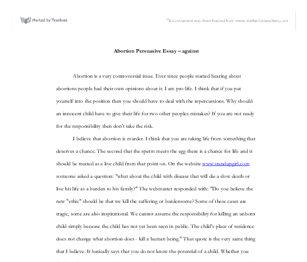 Abortion Persuasive Essay Outline