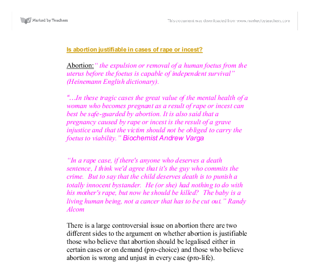 is abortion justifiable in cases of rape or incest gcse  document image preview