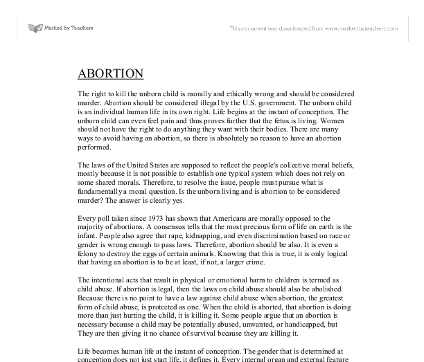 is all murder morally wrong essay Why abortion is immoral don marquis journal of philosophy, vol 86 (april life it is seriously wrong to end the argument of this essay will assume, but not.