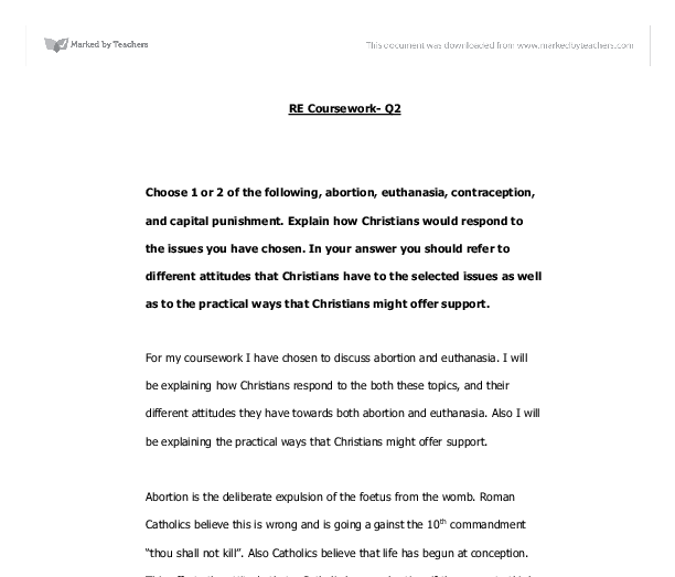 christians feelings about abortion and euthanasia essay