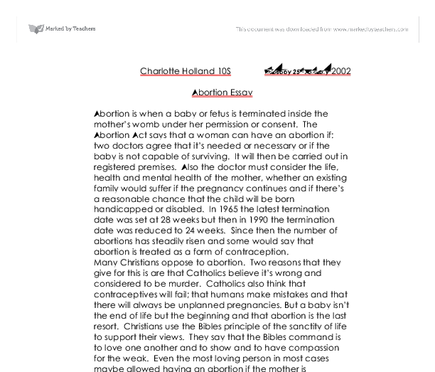 A Position Paper on Abortion