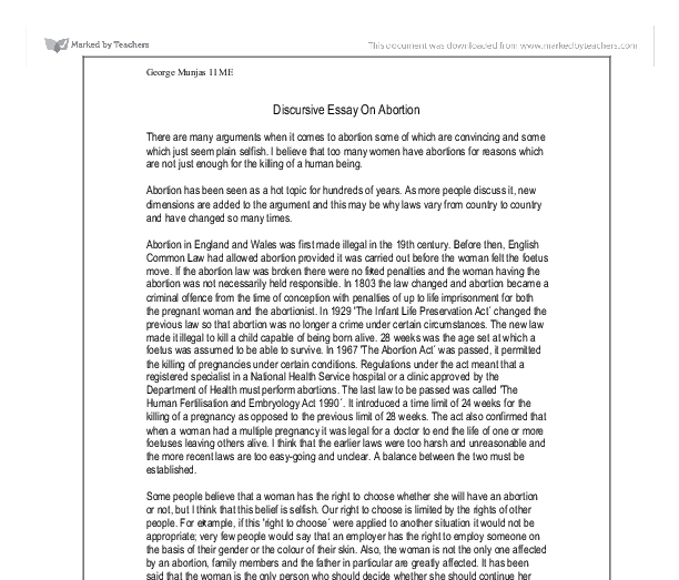 discursive essay on abortion essay Here is a sample argumentative essay on abortion featuring 1000+ words, apa  in-text citations and a list of credible references.