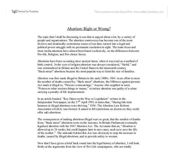 Abortion is wrong essay