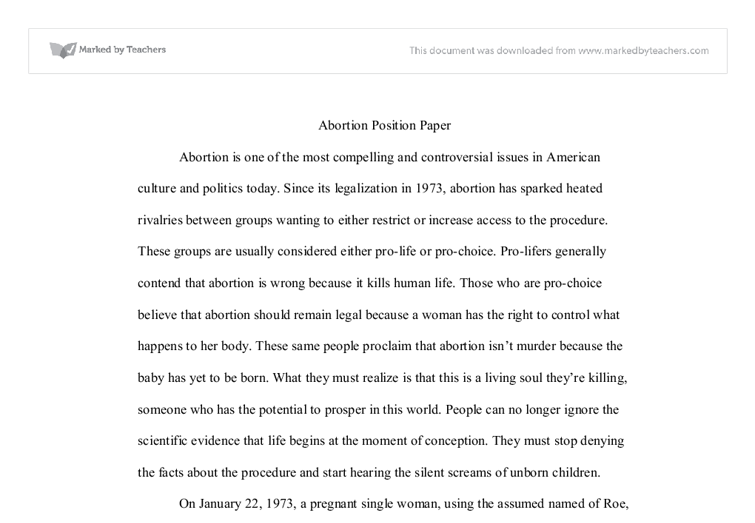 position paper abortion