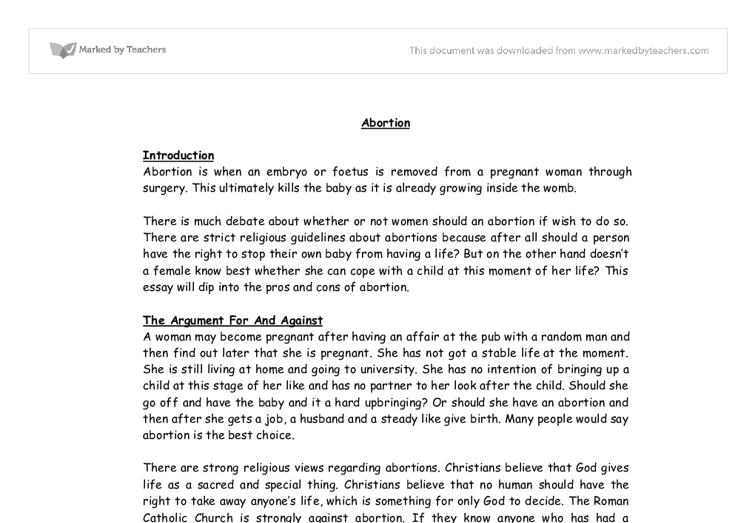 Argumentative Essay on Abortion - College Essay - 449 Words