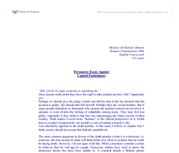 capital punishment essay against arguments