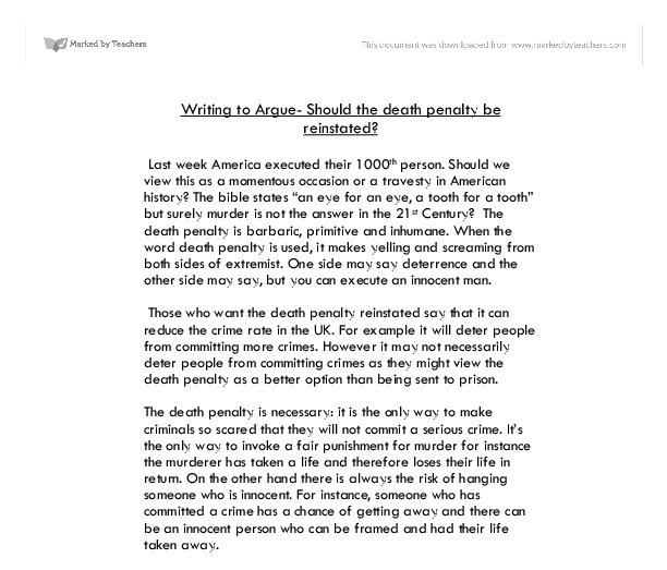 writing to argue should the death penalty be reinstated gcse  document image preview