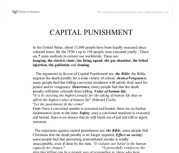 the bible and capital punishment Here is a great study on whether or not the bible supports of the death penalty and/or capital punishment.