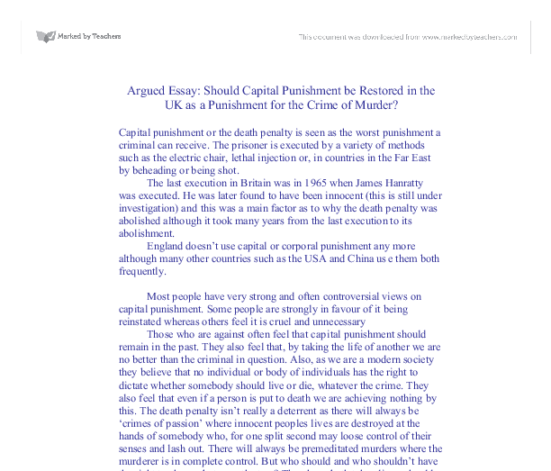 Ethical Issues of Capital Punishment Essay Sample