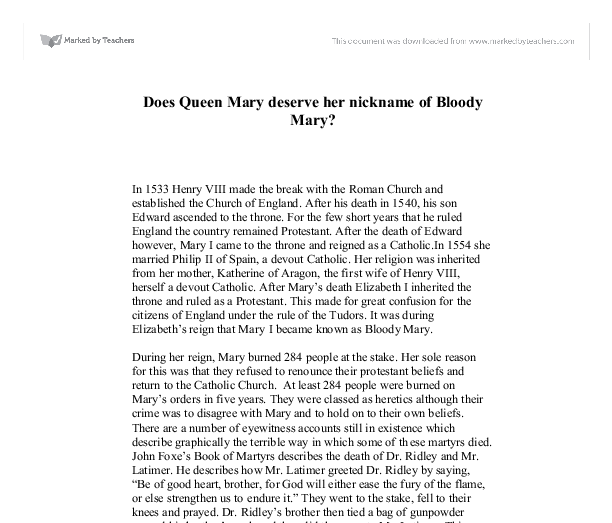 bloody mary essay Download thesis statement on mary tudor i, also known as bloody maryin this essay, you will see how she grew up and who she grew up around mary tudor i in our database or order an.