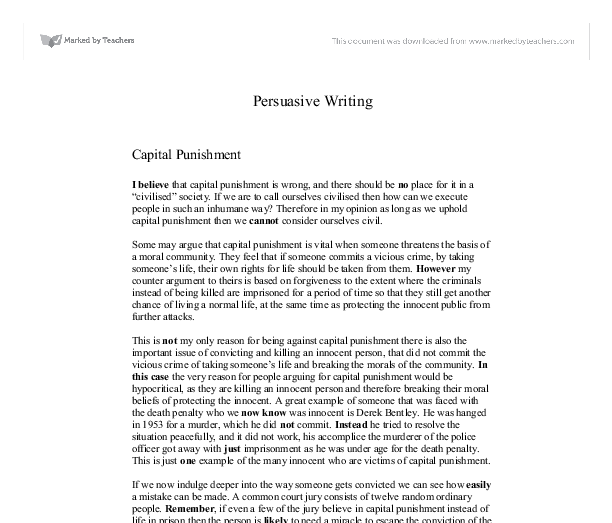 Death penalty essay persuade