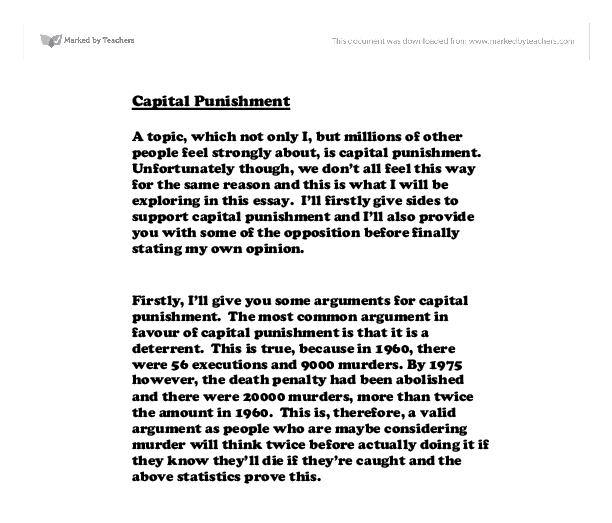 english essay on capital punishment Free essays from bartleby | furman had four main arguments: most western  nations had abolished capital punishment because it was an unsuccessful way to .