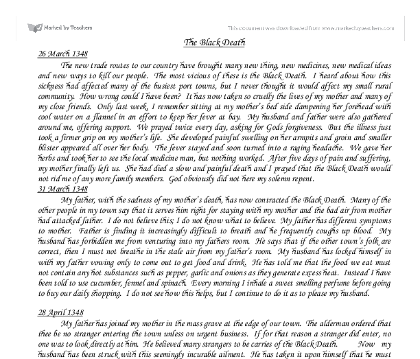 the black death diary accounts gcse religious studies  document image preview