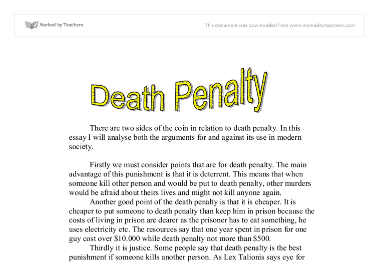 Death penalty essay against argumentative