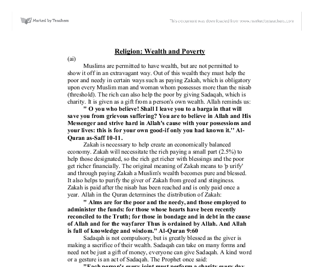 religion poverty and wealth essay Christian beliefs on religion, wealth and christian teaching on wealth and poverty essay - christian teaching on wealth and poverty in the world.