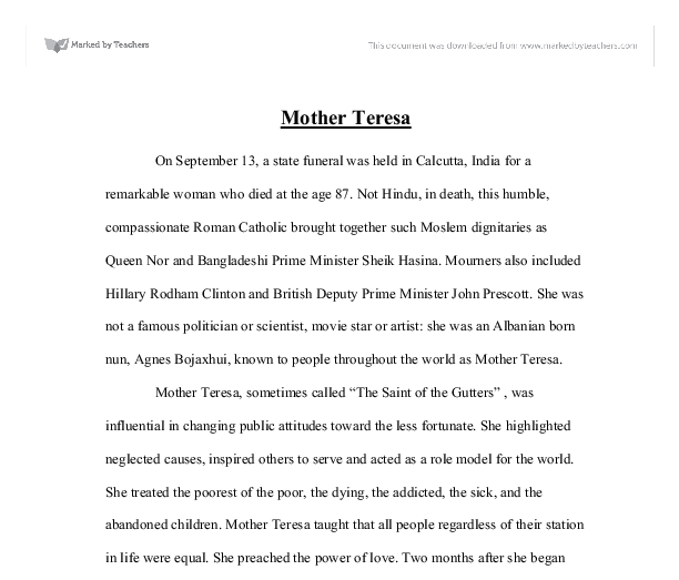essays about mother teresa life Affirmative action term papers (mother teresa essay) the life of mother teresa, its positive and negative events.
