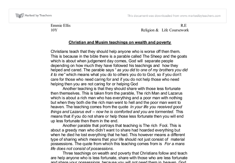 christian teachings on wealth and poverty essay Outline christian teaching on wealth and poverty to find these christian teachings write a custom essay sample on outline christian teaching on wealth and.