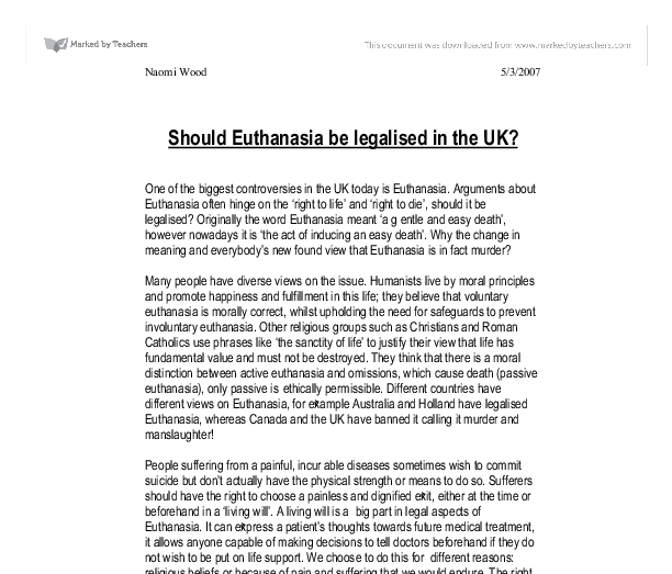 should euthanasia be legalised in the uk one of the biggest  document image preview