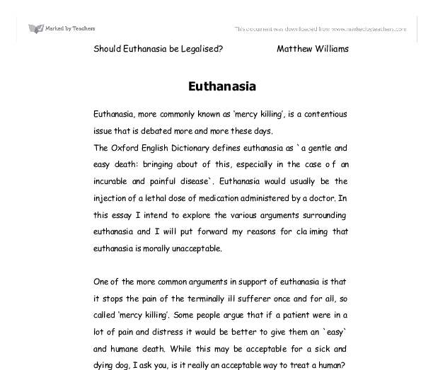 discussing euthanasia more commonly known as mercy killing  document image preview
