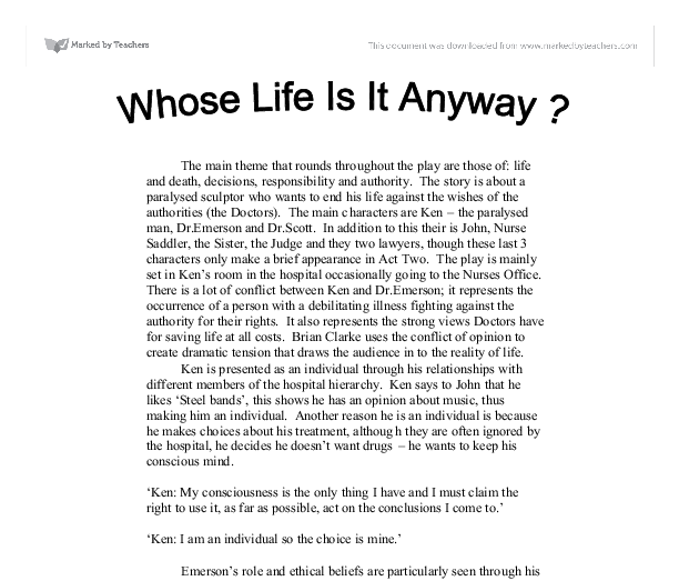 whose life is it anyway essay  essay on euthanasia whose life is it anyway