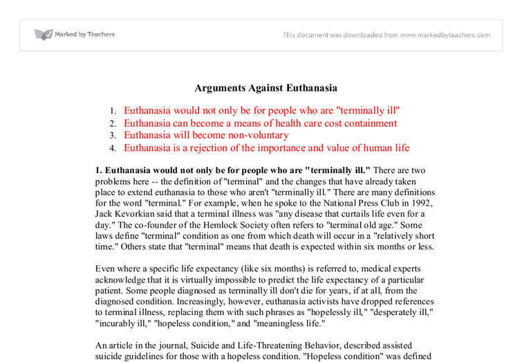 Argumentative Essays On Euthanasia