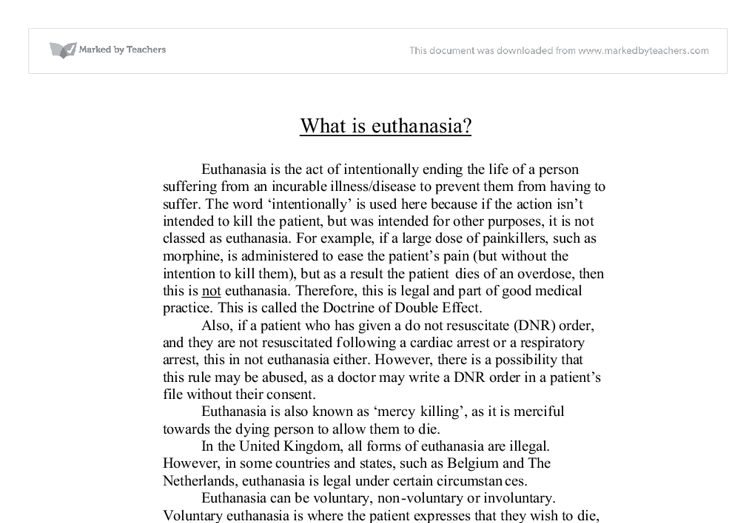 against both voluntary and involuntary euthanasia essay