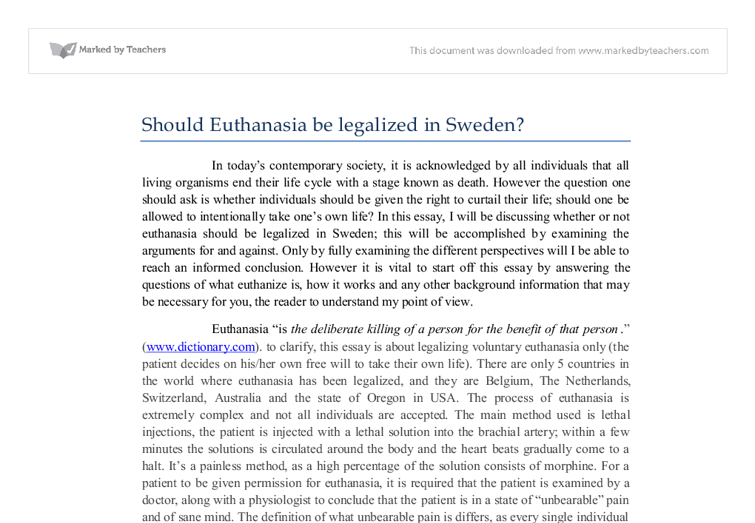 write a planned essay on euthanasia Euthanasia is where individuals who are terminally ill elect to end their own life this has and will continue to be a contentious issue with the right people's religious beliefs conflicting with those of the rights individual.