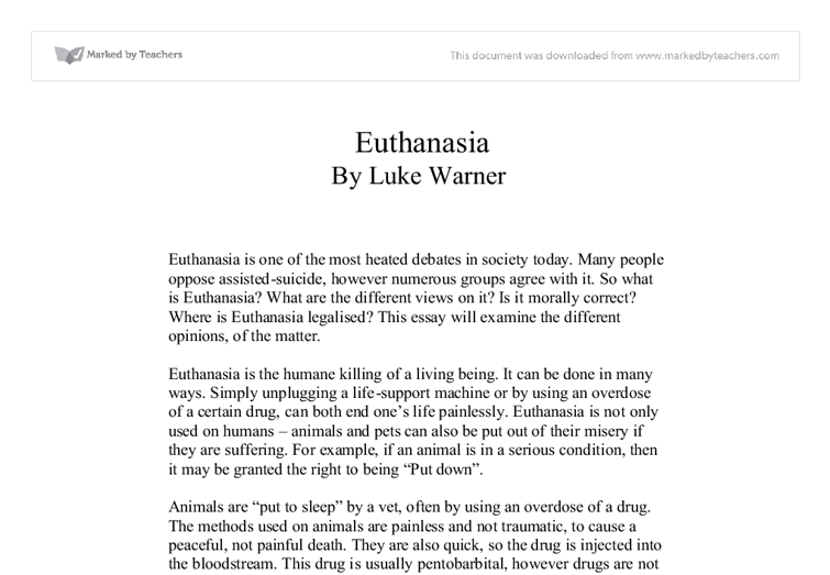 introduction on euthanasia essay Speech outline (persuasive speech) title : euthanasia: to live and let die specific purpose : to persuade my audience that euthanasia should be legalized in.