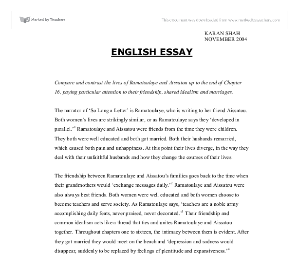 Example Proposal Essay Document Image Preview How To Learn English Essay also Example Of A Good Thesis Statement For An Essay So Long A Letter  Compare And Contrast The Lives Of Ramatoulaye  Starting A Business Essay