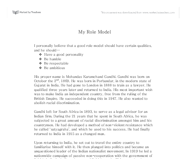 my role model mahatma gandhi gcse religious studies document image preview