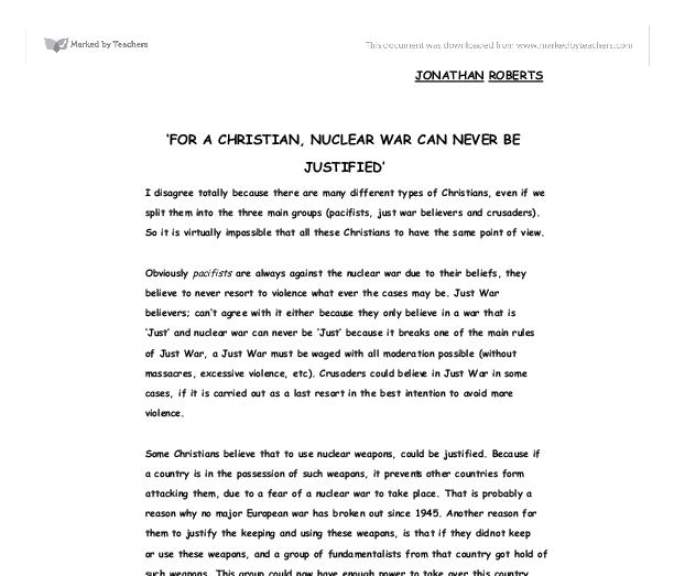 for a christian nuclear war can never be justified gcse  document image preview