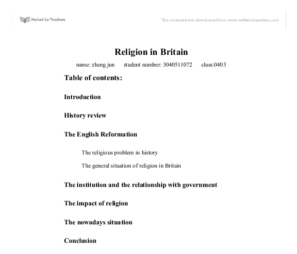 religion in britain essay Now, nobody can deny that religion has advantages, and nobody can deny that it has, perhaps major, disadvantages however, i was thinking about it more.