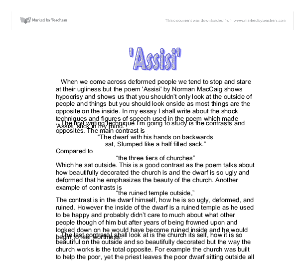 Assisi essay plan