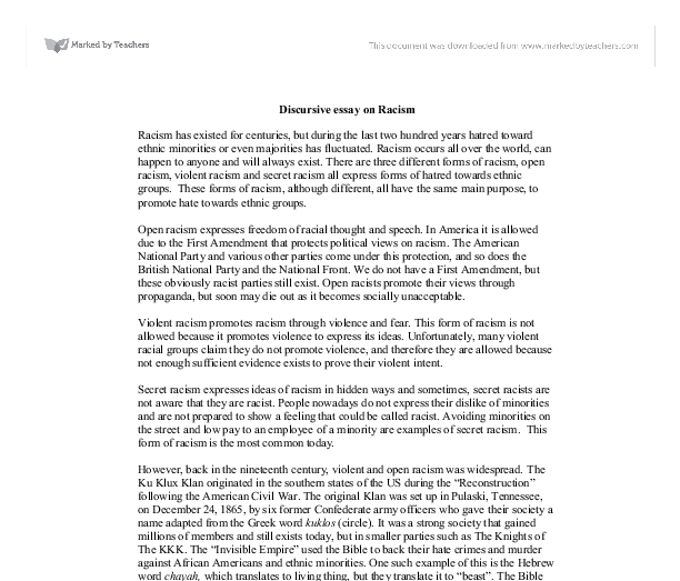 racial discrimination in usa essay