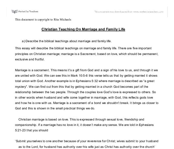 christian teaching on marriage and family life a describe the  document image preview