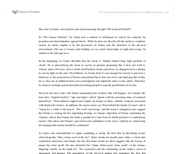 Thesis Statement Essay Example Document Image Preview Science Fiction Essays also Custom Essay Paper In The Lemon Orchard La Guma Uses A Number Of Techniques To  Theme For English B Essay