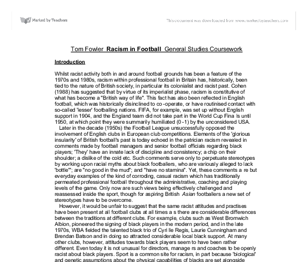 racism in football gcse religious studies philosophy ethics  document image preview