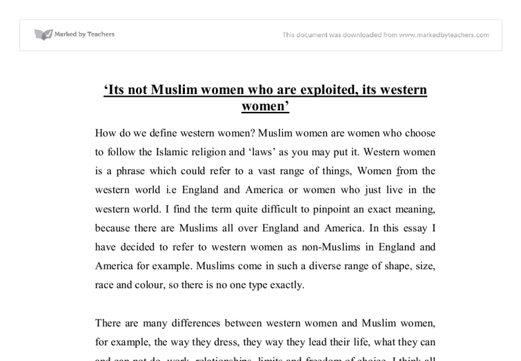 its not muslim women that are exploited its western women gcse  document image preview