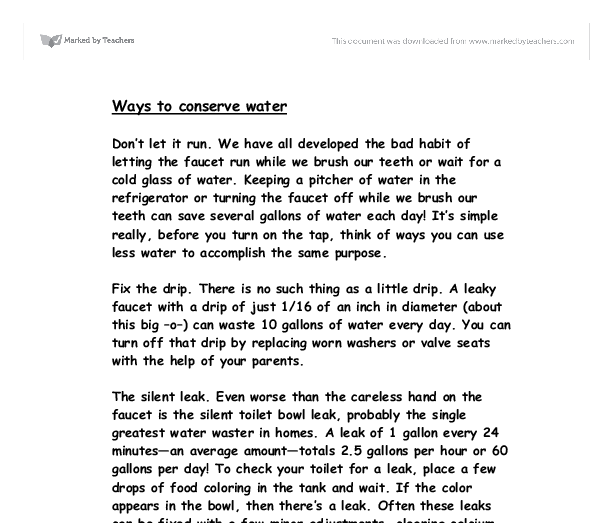 essay on how to save water How to save water this will not only save water, but will save wear and tear on your this article helped me to write an essay about water.