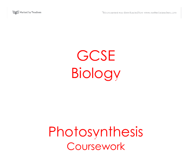 Biology Coursework : Rate of Photosynthesis