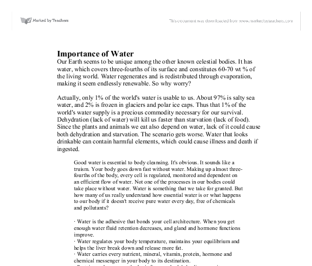 importance of water conservation essay This year, middle school students were asked to write a 300-500 word essay on  the topic: why is water conservation important to you and to our region.