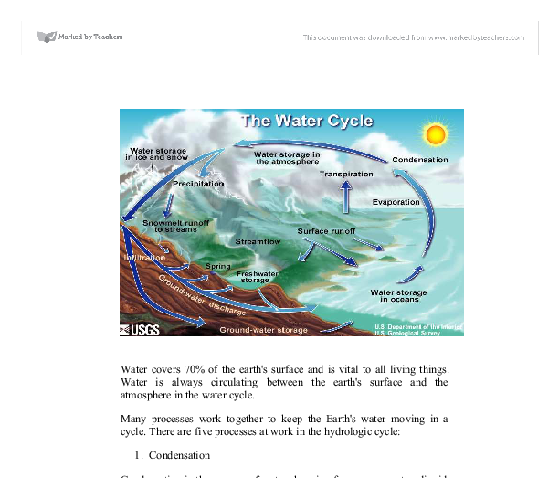 essay water cycle Hydrosphere and the hydrologic cycle earth is a blue planet with a wide surface coverage of water it is approximated that 75% of the earth surface, which.