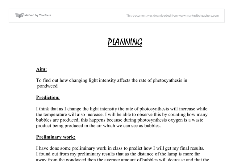 biology photosynthesis coursework