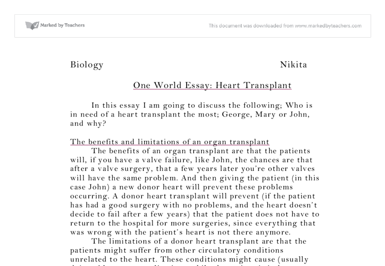 heart transplant essay gcse science marked by teachers com document image preview