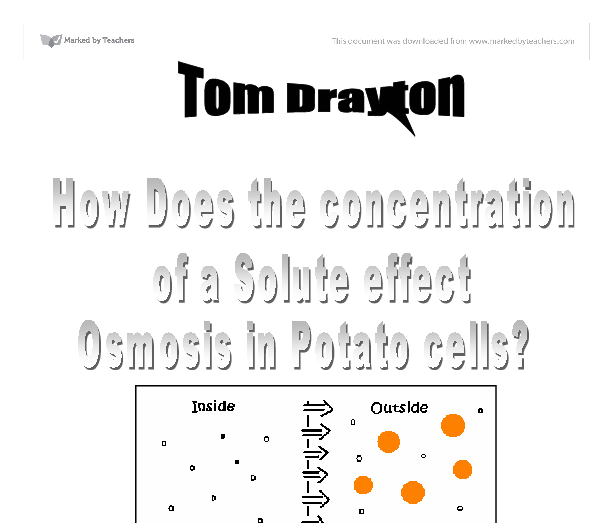effect of solute concentration on osmosis Concentration of dissolved substances (solutes)  in plant cells, the pressure on the cell wall that results because of the influx of water in osmosis.