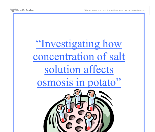 gcse biology coursework osmosis in a potato