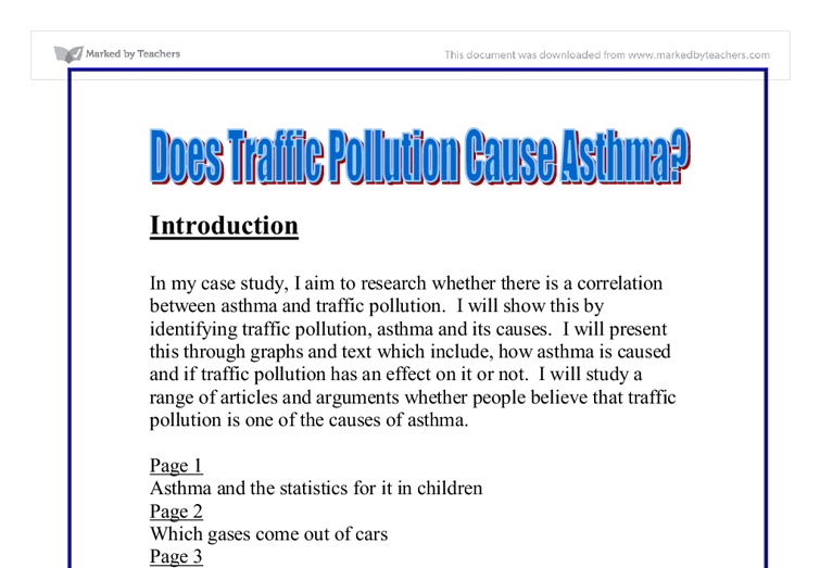 Does traffic pollution cause asthma coursework